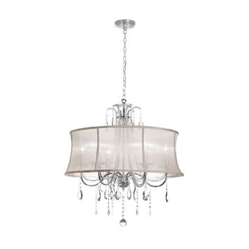 Dianolite Decorative 6 Light Crystal Chandelier, Polished Chrome, Oyster Organza Bell Shade