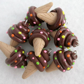 Chocolate Ice Cream Cone Charms - Set of 8 Polymer Clay Food Charms