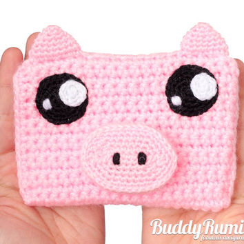 Pig crochet wallet with two compartments personalizable Finished item Ready to ship