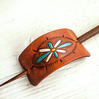 Leather Barrette and Hair Stick- Hand stamped, tooled and stained - Wood Teak Stick - Floral Turquoise and Yellow