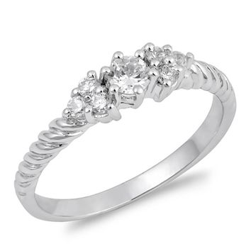 3 Stone Cubic Zirconia on Twist Sterling Silver Engagement Ring