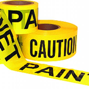 Tape, Poly Caution Safety Danger Marking Hazardous Wet Paint UV Water Resistant 10318