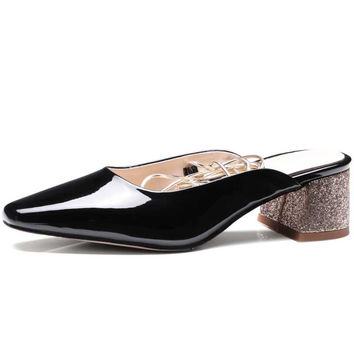 DoraTasia patent leather Square Toe Med Heels Ankle Warp Woman Mules Pumps Sexy Party Dating Shoes Women Big Size 33-43