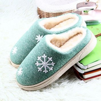 Women Winter Cozy House Slippers With Faux Fur Lining