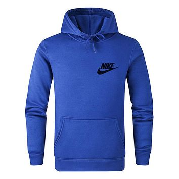 NIKE New fashion bust letter hook print couple hooded long sleeve sweater Blue