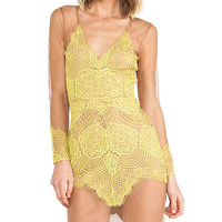 For Love & Lemons Antigua Mini Dress in Yellow