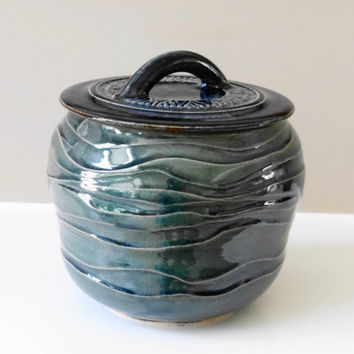 Blue Green Stoneware Kitchen Canister, Cookie Jar, Lidded jar,  Stash jar, Ceramic jar with lid, Green Pottery jar