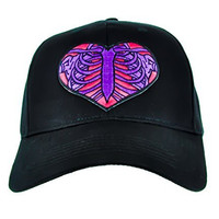 Skeleton Rib Cage Heart Hat Halloween Baseball Cap