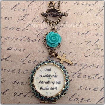 God Is Within Her Scripture Locket, Psalm 46:5 Photo Locket, Bible Verse Jewelry, Christian Jewelry, PennyWhistle