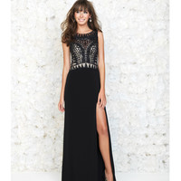 Black Gown With Sheer Back & Geometric Beading