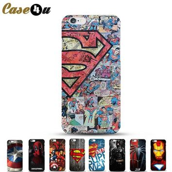 Ultra Slim Superman Phone Cases for coque iPhone 8 6 6s 7 7Plus 5s SE iphone7 Hard Case Deadpool Ironman Batman Superhero Covers