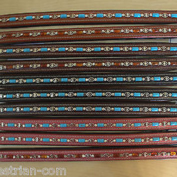 USA Leather Browbands Qty.10 - 15.5 inches Turquoise and chocolate beads