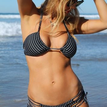 Santa Cruz Strappy Back Bikini Top - Pinstripe