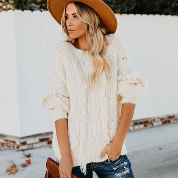 Fontaine Fringe Cable Knit Sweater - Cream