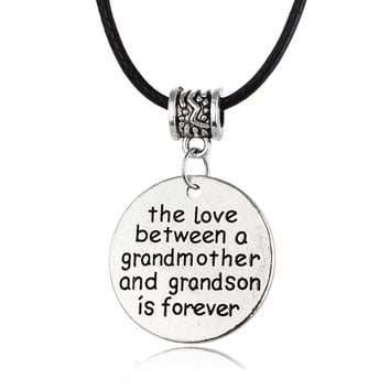 The Love Between A Grandmother And Grandson Is Forever Pendant Necklace Family Love Jewelry Gift For Grandma Leather Choker