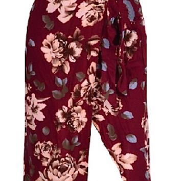Michigan Floral Print Two Piece Dress - Burgundy Red
