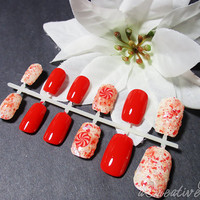 """SALE! """"ChristmasCandy Cane"""" Red White  Fake Nails, Hand Painted, Fashion Nails, Press on Nails, 3D Nails, Polished Nails, Reusable with Glue"""