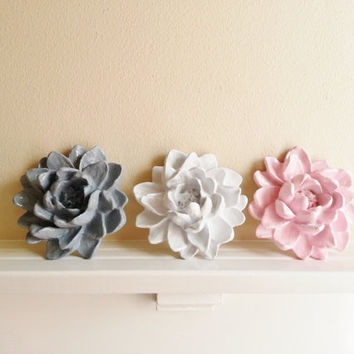 Pastel Flower Arrangement Wall Sculpture trio, Lotus wedding and home decor