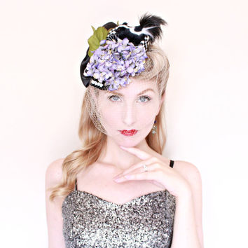 1930s Hat / Vintage / Fascinator / Novelty / Tilt Hat / Lilacs / Birdcage veil / CUTE