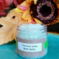 Coconut Lime bath soak, bath salts, bath gift, girl friend gift, best friend gift, office party gifts, party favors, gifts for her.