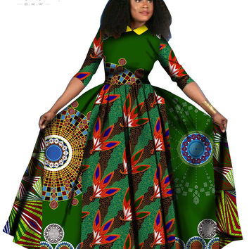2017 spring Dress Dashiki Batik Print African dresses for women Long Sleeves Pure Cotton turn-down Collar Dress Plus Size  WY842
