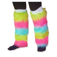 Rainbow Fluffy Leg Warmers