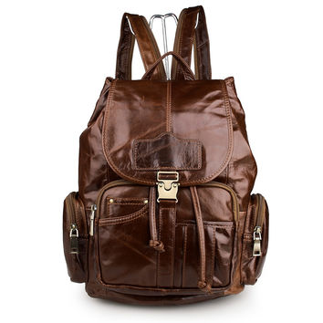 Brown Genuine Leather Unisex Casual Backpack_Men's Leather Bags
