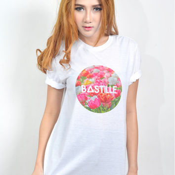 Bastille Flower Print Design Clothes for Women Fashion Tee Whte