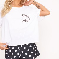 Polkadot Sleepy Head Slogan PJ Set