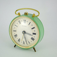 Vintage Mechanical Alarm Clock Jantar from Russia Soviet Union Green Clock