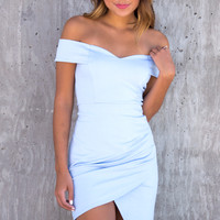 Rory Baby Blue Off The Shoulder Bodycon Dress