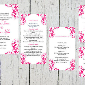 Damask Pocket Wedding Invitation Template Set - Fuchsia Damask DIY Printable Editable PDF Template Set - Instant Download - DIY You Print