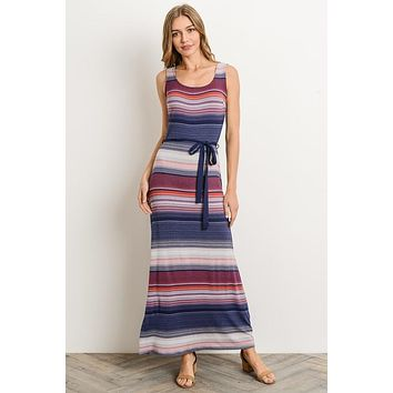 Rainbow Striped Maxi Dress - Navy and Red