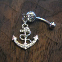 Fashion Anchor with Crystal Rhinestones Belly Button Ring