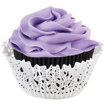 Doily Standard Baking Cup Kit-Black Inner Cup & White Outer Cup 24/Pkg