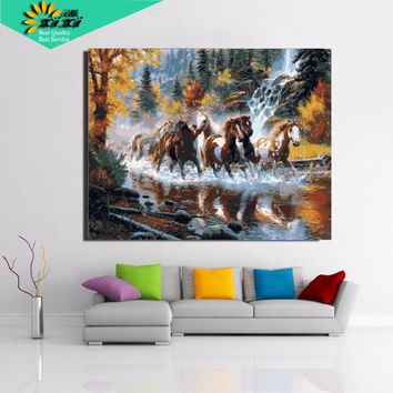 XIXI Art Modern diy oil canvas painting wall art home decor cuadros decoracion 40*50 cm Horse pictures Painting by numbers WX3