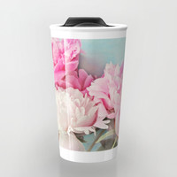 3 peonies Travel Mug by Sylvia Cook Photography