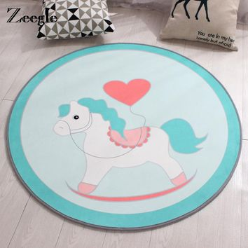 Kids Rocking Horse Round Play Mat Anti slip Floor Rug