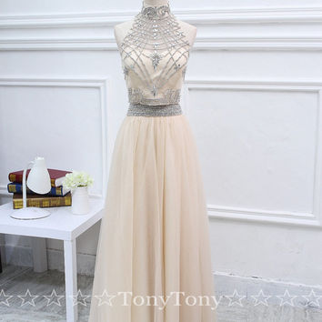 2 Piece Long Prom Dresses,Beaded Nude Formal Dresses,Two Piece Party Dresses with Shinny Beaded Bodice High Neck