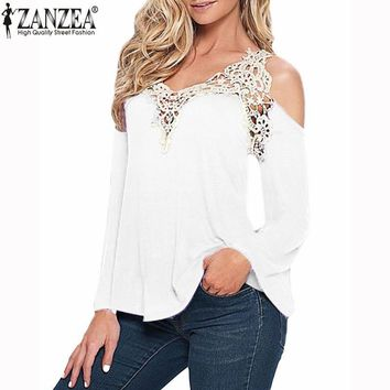 Women's Blouses Shirts elegant Lace V-neck Sleeve