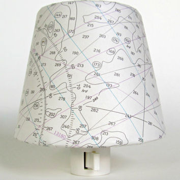 Beach Night Lights - Nautical Chart Map - White Seaside Decor - Nautical Nursery Decor - Nightlight - Master Bedroom Accent Lighting