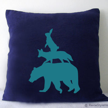 Stacking Animals Navy And Turquoise Pillow Cover. Woodland Animals. Bear. Fox. Decorative Cushion