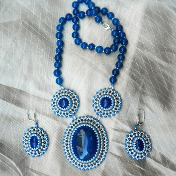 Snow Queen ooak bead embroidered jewelry set necklace and matching earrings with natural blue agate gemstones