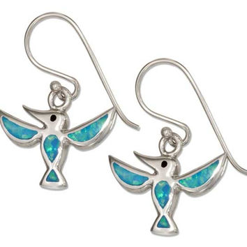 Synthetic Blue Opal Hummingbird Earrings - Sterling Silver