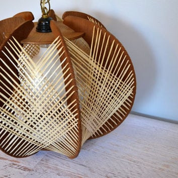 Vintage Swag Light, 1960s String Art Wood and Straw Overhead Ceiling Light with Chain, Cord, Plug, Mid Century Lighting
