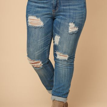 Curvy Out And About Distressed Jeans (Medium Wash)