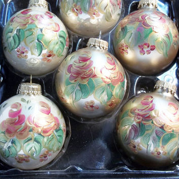 "2 5/8"" Gold Glass Ornament Hand Painted Scandinavian Design Rosemaling, Folk Art Style"