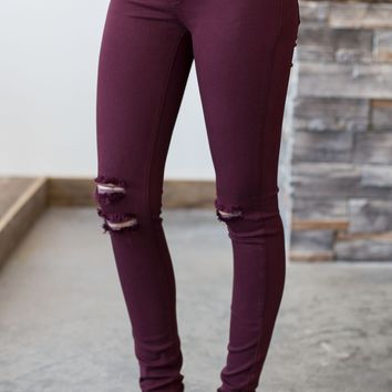Kan Can Burgundy Distressed Jeans
