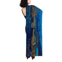 "Women's Long Silk Scarf - ""Peacock"""