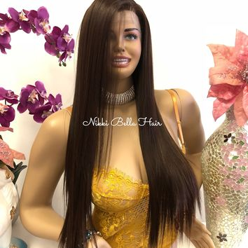 "Brown Brunette Balayage Ombré Swiss Long Lace Front Wig | 30"" Esperanza 818 21*****"